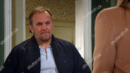 Stock Picture of Emmerdale - Ep 9000 Monday 22nd March 2021 When Kim Tate, as played by Claire King, wants to investigate the noise in the cellar, a flailing Will Taylor, as played by Dean Andrews, deflects by suggesting they head upstairs. Kim's excited, while Will steals himself.