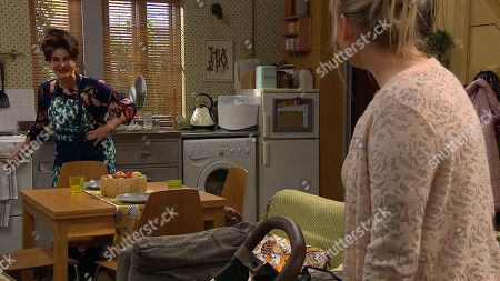 Emmerdale - Ep 9005 & Ep 9006 Friday 26th March 2021 Faith Dingle, as played by Sally Dexter, is playing the domestic goddess as she cooks and cleans for Tracy Metcalfe, as played by Amy Walsh.