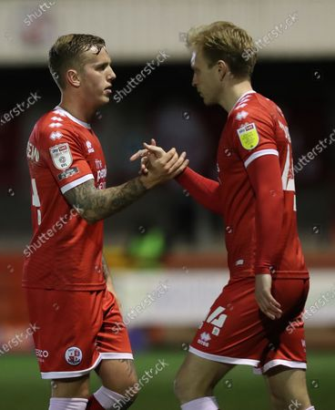 Crawley Town's Jordan Maguire-Drew is replaced by Crawley Town's Josh Wright during the EFL League Two match between Crawley Town and Salford at the People's Pension Stadium in Crawley.