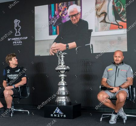 Stock Picture of Opening press conference ahead of the start of the 36th America's Cup between defender's Emirates Team New Zealand (ETNZ) and Italian challengers, Luna Rossa Prada Pirelli. ETNZ skipper Peter Burling (left) and Luna Rossa Team Director and skipper Max Sirena. Participating via video was Luna Rossa team Chairman Patrizio Bertelli (above). The America's Cup nicknamed the 'Auld Mug' is the world's oldest sporting trophy.