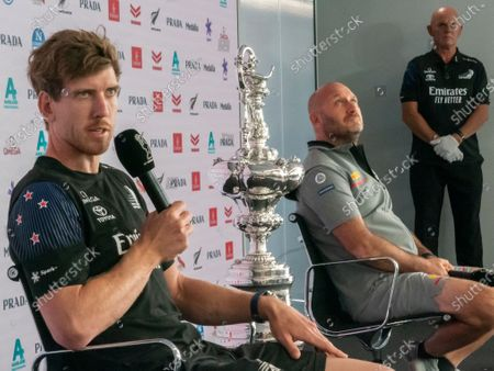 Stock Image of Auckland, New Zealand, 9 March, 2021 - Opening press conference ahead of the start of he 36th America's Cup between defender's Emirates Team New Zealand (ETNZ) and Italian challengers, Luna Rossa Prada Pirelli. ETNZ skipper Peter Burling (left) and Luna Rossa Team Director and skipper Max Sirena. The America's Cup nickname the 'Auld Mug' is the world's oldest sporting trophy. Also participating via video was team Chairman Patrizio Bertelli. Credit: Rob Taggart/