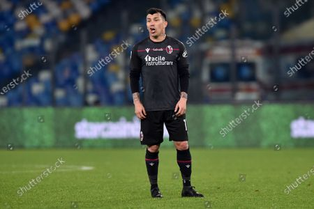 Gary Medel of Bologna FC during the Serie A match between SSC Napoli and Bologna FC Calcio at Stadio Diego Armando Maradona Naples Italy on 7 March 2021.