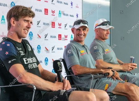 Defender's  Emirates Team New Zealand (ETNZ), skipper Peter Burling (left) joins Italian challengers Luna Rossa Prada Pirelli co-helmsmen Jimmy Spithill (right) and Francesco Bruni in the after racing press coference after day 2 of the 36th America's Cup.  The series stands at 2-2.