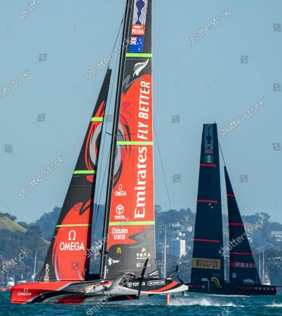 Defender's  Emirates Team New Zealand (ETNZ), skippered by Peter Burling on Te Rehutai and Italian challengers Luna Rossa Prada Pirelli, co-helmed by Jimmy Spithill and Francesco Bruni on Luna Rossa, during Day 3, Race 6, of the 36th America's Cup.