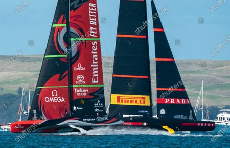 Defender's  Emirates Team New Zealand (ETNZ), skippered by Peter Burling on Te Rehutai and Italian challengers Luna Rossa Prada Pirelli, co-helmed by Jimmy Spithill and Francesco Bruni on Luna Rossa, during Day 3, Race 5, of the 36th America's Cup.