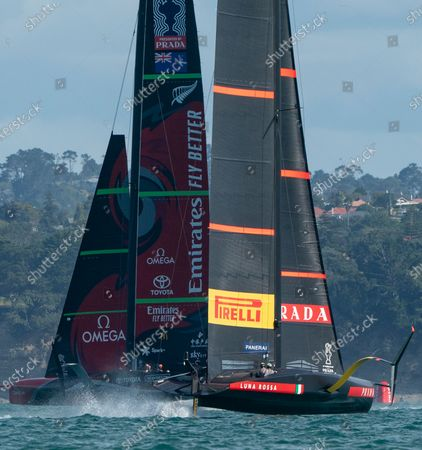 Defender's  Emirates Team New Zealand (ETNZ), skippered by Peter Burling on Te Rehutai and Italian challengers Luna Rossa Prada Pirelli, co-helmed by Jimmy Spithill and Francesco Bruni on Luna Rossa, during Day 5, Race 7, of the 36th America's Cup.