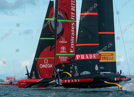 Defender's  Emirates Team New Zealand (ETNZ), skippered by Peter Burling on Te Rehutai and Italian challengers Luna Rossa Prada Pirelli, co-helmed by Jimmy Spithill and Francesco Bruni on Luna Rossa, during Day 5, Race 8, of the 36th America's Cup.