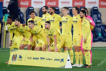 Stock Image of Villarreal line-up (L-R) Gerard Moreno, Raul Albiol, Etienne Capoue, Juan Foyth, Pau Torres, Sergio Asenjo, Dani Parejo, Samuel Chukwueze, Alfonso Pedraza, Manu Trigueros, Moi Gomez during the La Liga Santander match between Villarreal CF and Atletico de Madrid at Estadio de la Ceramica on February 28, 2021 in Villareal, Spain. Sporting stadiums around Spain remain under strict restrictions due to the Coronavirus Pandemic as Government social distancing laws prohibit fans inside venues resulting in games being played behind closed doors.