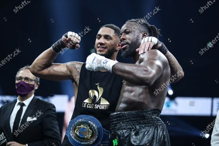 French boxer Tony Yoka and Belgian boxer Joel Tambwe Djeko after the fight for the european union heavyweight title in H Arena in Nantes