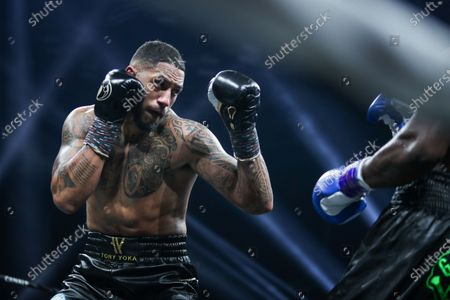Stock Picture of French boxer Tony Yoka and Belgian boxer Joel Tambwe Djeko during the fight for the european union heavyweight title in H Arena in Nantes