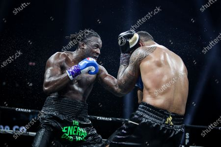 Stock Image of French boxer Tony Yoka and Belgian boxer Joel Tambwe Djeko during the fight for the european union heavyweight title in H Arena in Nantes