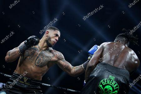 French boxer Tony Yoka and Belgian boxer Joel Tambwe Djeko during the fight for the european union heavyweight title in H Arena in Nantes