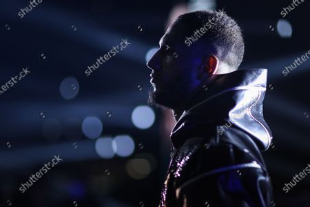 Stock Photo of French boxer Tony Yoka before his fight against Belgian boxer Joel Tambwe Djeko for the european union heavyweight title in H Arena in Nantes