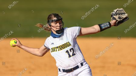 Chattanooga's Hannah Wood throws to a batter during an NCAA college softball game, in Nashville, Tenn