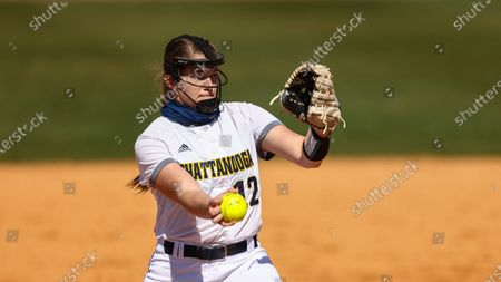 Stock Picture of Chattanooga's Hannah Wood throws to a batter during an NCAA college softball game, in Nashville, Tenn