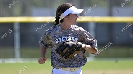 Stetson outfielder Elizabeth Jackson (2) runs during an NCAA softball game against Toledo, in Leesburg, Fla