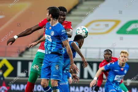 Stock Picture of Gent's Milad Mohammadi and Oostende's Makhtar Gueye fight for the ball during a soccer match between KAA Gent and KV Oostende, Monday 08 March 2021 in Gent, on day 29 of the 'Jupiler Pro League' first division of the Belgian championship.