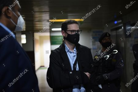 Luis Enrique Martinelli, son of former Panamanian President Ricardo Martinelli, arrives at the hearing to notify the reasons for the extradition order to the United States, in the Fifth Criminal Sentencing Court of the Guatemalan Judicial Organism, in Guatemala City, Guatemala, 08 March 2021. The prosecutor's office of Guatemala assured that the money laundering charges on the former president's son requested by the United States are not politically motivated.