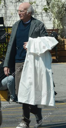 Stock Image of Larry David on the set of 'Curb Your Enthusiasm'