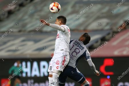 Victor Sosa (R) of Pachuca in action against Gonzalo Jara (L) of Club Tijuana during Guardians 2021 tournament soccer match between Pachuca and Club Tijuana at Hidalgo de Pachuca stadium in Pachuca, Mexico, 08 March 2021.