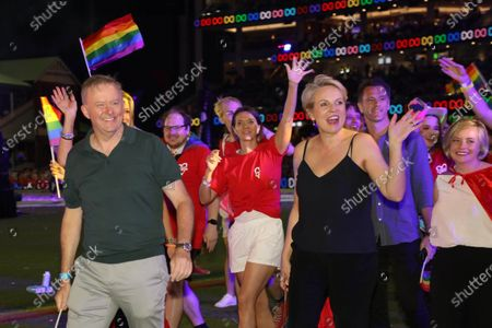 Stock Photo of The 43rd Sydney Gay and Lesbian Mardi Gras Parade 2021 at the Sydney Cricket Ground (SCG). Pictured: Federal Opposition Leader Anthony Albanese and Federal Member for Sydney Tanya Plibersek.
