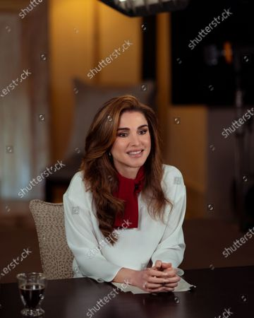 "Stock Photo of Queen Rania speaking live via video call to the virtual John F. Kennedy (JFK) Jr. warned  ""for the first time in 20 years, extreme poverty is back on the rise,"" with so many people reeling under parallel pandemics of hunger, violence, and increasing illiteracy"