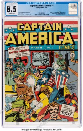 A rare comic showing Captain America punching Adolf Hitler has sold for a staggering £275,000. ($384,000)   The superhero comic became an 'instant classic' after it was released in 1941 just months before the US entered World War Two.   It sparked a bidding war when it went under the hammer with Heritage Auctions, of Dallas, Texas.