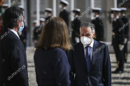 Stock Picture of Former Portuguese President Cavaco Silva arrives for the swering ceremony of Marcelo Rebelo de Sousa for a second term as Portuguese President at Parliament in Lisbon, Portugal, 09 March 2021. Reelected in the 24 January presidential elections with 60.67 percent of the votes cast, the 72-year-old retired law professor, a former constituent deputy, will be sworn in on the original of the Constitution of the Portuguese Republic.
