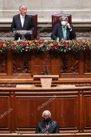Portuguese President Marcelo Rebelo de Sousa (second row L) accompanied by the Parliament President Eduardo Ferro Rodrigues (second row R) and by the Prime Minister Antonio Costa (first row) speeches during his swearing ceremony for a second term as President of the Republic at Portuguese Parliament in Lisbon, Portugal, 09 March 2021. Reelected in the 24 January presidential elections with 60.67 percent of the votes cast, the 72-year-old retired law professor, a former constituent deputy, will be sworn in on the original of the Constitution of the Portuguese Republic.