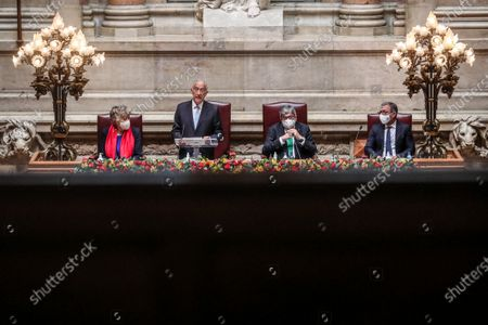 Portuguese President Marcelo Rebelo de Sousa (2-L) accompanied by the Parliament President Eduardo Ferro Rodrigues (2-R) speeches during his swearing ceremony for a second term as President of the Republic at Portuguese Parliament in Lisbon, Portugal, 09 March 2021. Reelected in the 24 January presidential elections with 60.67 percent of the votes cast, the 72-year-old retired law professor, a former constituent deputy, will be sworn in on the original of the Constitution of the Portuguese Republic.