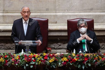 Marcelo Rebelo de Sousa (L) accompanied by the Parliament President Eduardo Ferro Rodrigues (R) speeches during his swearing ceremony for a second term as President of the Republic at Portuguese Parliament in Lisbon, Portugal, 09 March 2021. Reelected in the 24 January presidential elections with 60.67 percent of the votes cast, the 72-year-old retired law professor, a former constituent deputy, will be sworn in on the original of the Constitution of the Portuguese Republic.