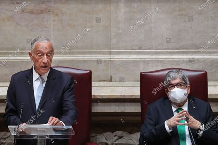 Portuguese President Marcelo Rebelo de Sousa (L) accompanied by the Parliament President Eduardo Ferro Rodrigues (R) speeches during his swearing ceremony for a second term as President of the Republic at Portuguese Parliament in Lisbon, Portugal, 09 March 2021. Reelected in the 24 January presidential elections with 60.67 percent of the votes cast, the 72-year-old retired law professor, a former constituent deputy, will be sworn in on the original of the Constitution of the Portuguese Republic.
