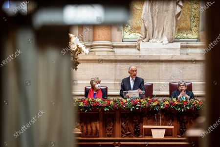 Portuguese President Marcelo Rebelo de Sousa (C) accompanied by the Parliament President Eduardo Ferro Rodrigues (R) speeches during his swearing ceremony for a second term as President of the Republic at Portuguese Parliament in Lisbon, Portugal, 09 March 2021. Reelected in the 24 January presidential elections with 60.67 percent of the votes cast, the 72-year-old retired law professor, a former constituent deputy, will be sworn in on the original of the Constitution of the Portuguese Republic.