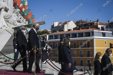 Portugal's President Marcelo Rebelo de Sousa (2-L) accompanied by Portuguese Parliament Eduardo Ferro Rodrigues (L) leaves the Parliament after his swearing in ceremony for a second term as President of the Republic, in Lisbon, Portugal, 09 March 2021. Reelected in the 24 January presidential elections with 60.67 percent of the votes cast, the 72-year-old retired law professor, a former constituent deputy, will be sworn in on the original of the Constitution of the Portuguese Republic.
