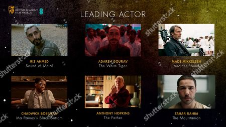 Leading Actor nominees for the 2021 EE British Academy Film Awards, Riz Ahmed, 'Sound of Metal', Chadwick Boseman, 'Ma Rainey's Black Bottom', Adarsh Gourav, 'The White Tiger', Sir Anthony Hopkins, 'The Father', Mads Mikkelsen, 'Another Round' and Tahar Rahim, 'The Mauritanian'