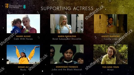 Stock Picture of Supporting Actress nominees for the 2021 EE British Academy Film Awards, Niamh Algar, 'Calm with Horses', Kosar Ali, 'Rocks', Maria Bakalova, 'Borat Subsequent Moviefilm', Dominique Fishback, 'Judas and the Black Messiah', Ashley Madekwe, 'County Lines' and Yuh-jung Youn, 'Minari'