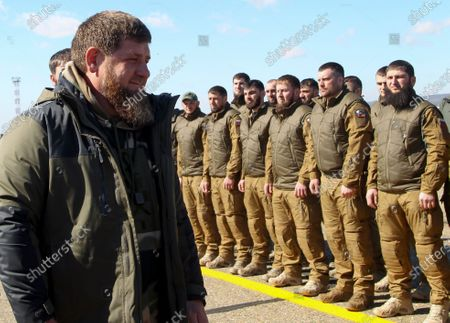 Chechnya's regional leader Ramzan Kadyrov inspects troops before their deployment for an exercise in the Arctic at an airport outside Grozny, Russia