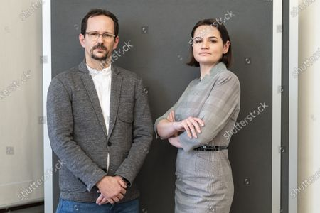 Svetlana Tikhanovskaya (R), a Belarusian human rights activist and politician who ran for the 2020 Belarusian presidential election as the main opposition candidate, poses for a photograph with with Balthasar Glaettli (L), head of the parliamentary group of the Swiss Green Party, in Bern, Switzerland, 09 March 2021. Tikhanovskaya visits Switzerland to talk about the current political crisis around the President of Belarus, Alexander Lukashenko.