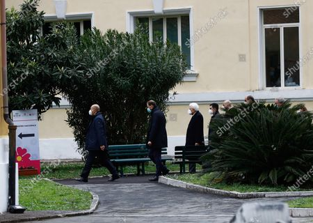 Italian President Sergio Mattarella arriving at Spallanzani Hospital to get vaccinated against COVID-19