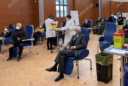 Italian President Sergio Mattarella (C) at Spallanzani hospital waiting to be vaccinated against COVID-19