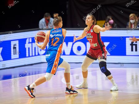Laura Juskaite and Paola Ferrari in action during the Queen´s Cup Final 2021 match between UNI Girona and Valencia Basket at Fonteta Stadium of Valencia.  (Final score: UNI Girona: 72 - Valencia Basket: 62)