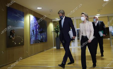(L-R) US Special Presidential Envoy for Climate John Kerry, European Commission President Ursula von der Leyen and European Commission vice-president in charge for European green deal Frans Timmermans walk after a meeting in Brussels, Belgium, 09 March 2021.