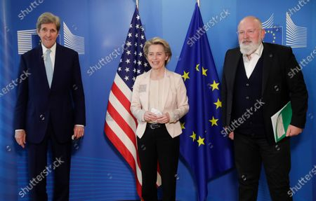 (L-R) US Special Presidential Envoy for Climate John Kerry, European Commission President Ursula von der Leyen and European Commission vice-president in charge for European green deal Frans Timmermans after a meeting in Brussels, Belgium, 09 March 2021.