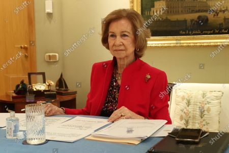 Former Queen Sofia during a digital meeting with the board of trustees of the Reina Sofia school of music at Zarzuela Palace.