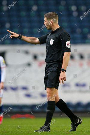Referee Robert Jones points the finger during the EFL Sky Bet Championship match between Blackburn Rovers and Swansea City at Ewood Park, Blackburn
