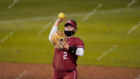 Stock Picture of Stanford's Emily Young (2) throws to first base against University of Nevada during an NCAA softball game on in Stanford, Calif