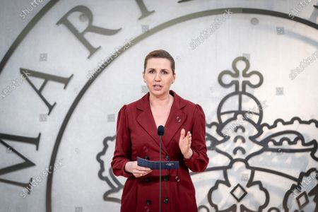 Stock Picture of Danish Prime Minister Mette Frederiksen speaks after appointing new special representative for Denmark's candidacy for UN Security Council at Marienborg in Kongens Lyngby, Denmark, 09 March 2021. Kristian Jensen was appointed new special representative and will work on Denmark's candidacy for the UN Security Council 2025-2026.