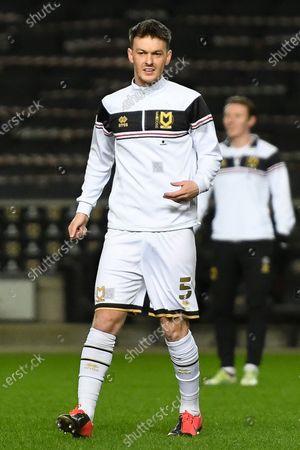 Milton Keynes Dons midfielder Josh McEachran (5) warms up before his MK Dons debut during the EFL Sky Bet League 1 match between Milton Keynes Dons and Blackpool at stadium:mk, Milton Keynes