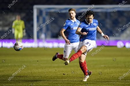 Charlie Daniels of Portsmouth passes during the EFL Sky Bet League 1 match between Portsmouth and Sunderland at Fratton Park, Portsmouth