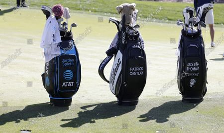 Jordan Spieth, Patrick Cantlay and Justin Thomas's bags on the eighth hole during a practice round for THE PLAYERS Championship golf tournament at TPC Sawgrass, in Ponte Vedra Beach, Florida, USA, 09 March 2021.